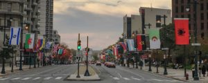 Benjamin Franklin Parkway Philadelphia flags