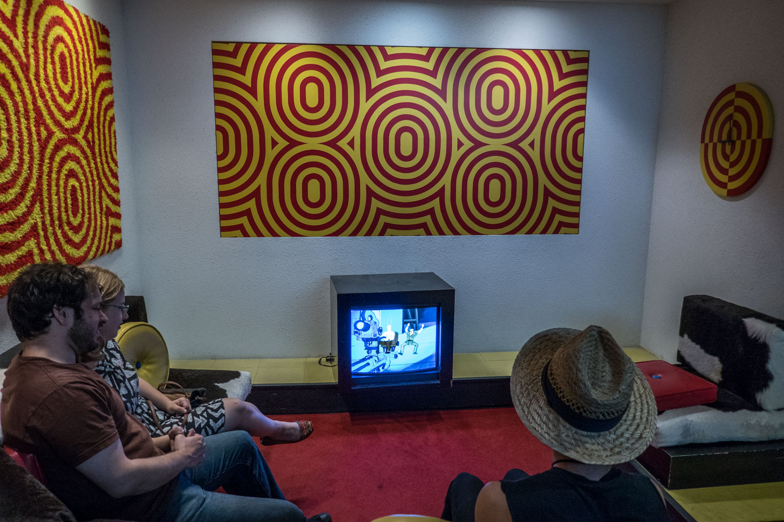 watching TV during an airport layover