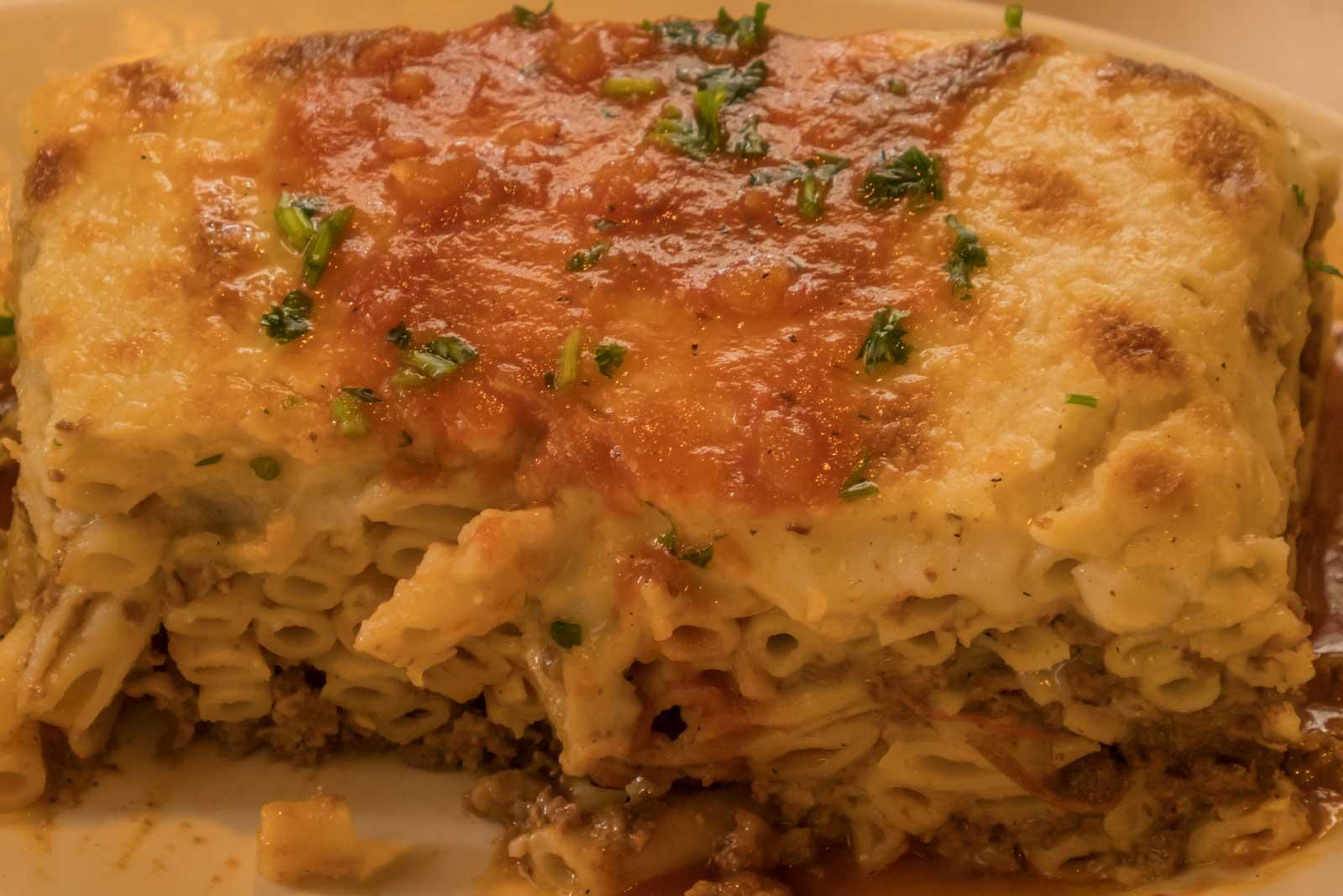 Pastitio at Ikaros Restaurant in Greektown Baltimore Maryland