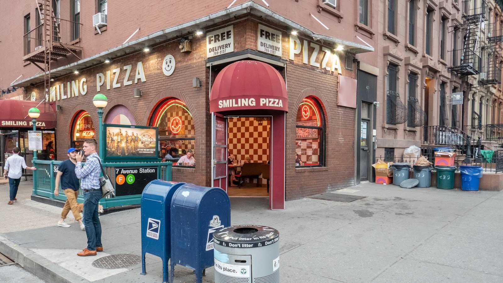 Smiling Pizza 7 Avenue F G train station Brooklyn