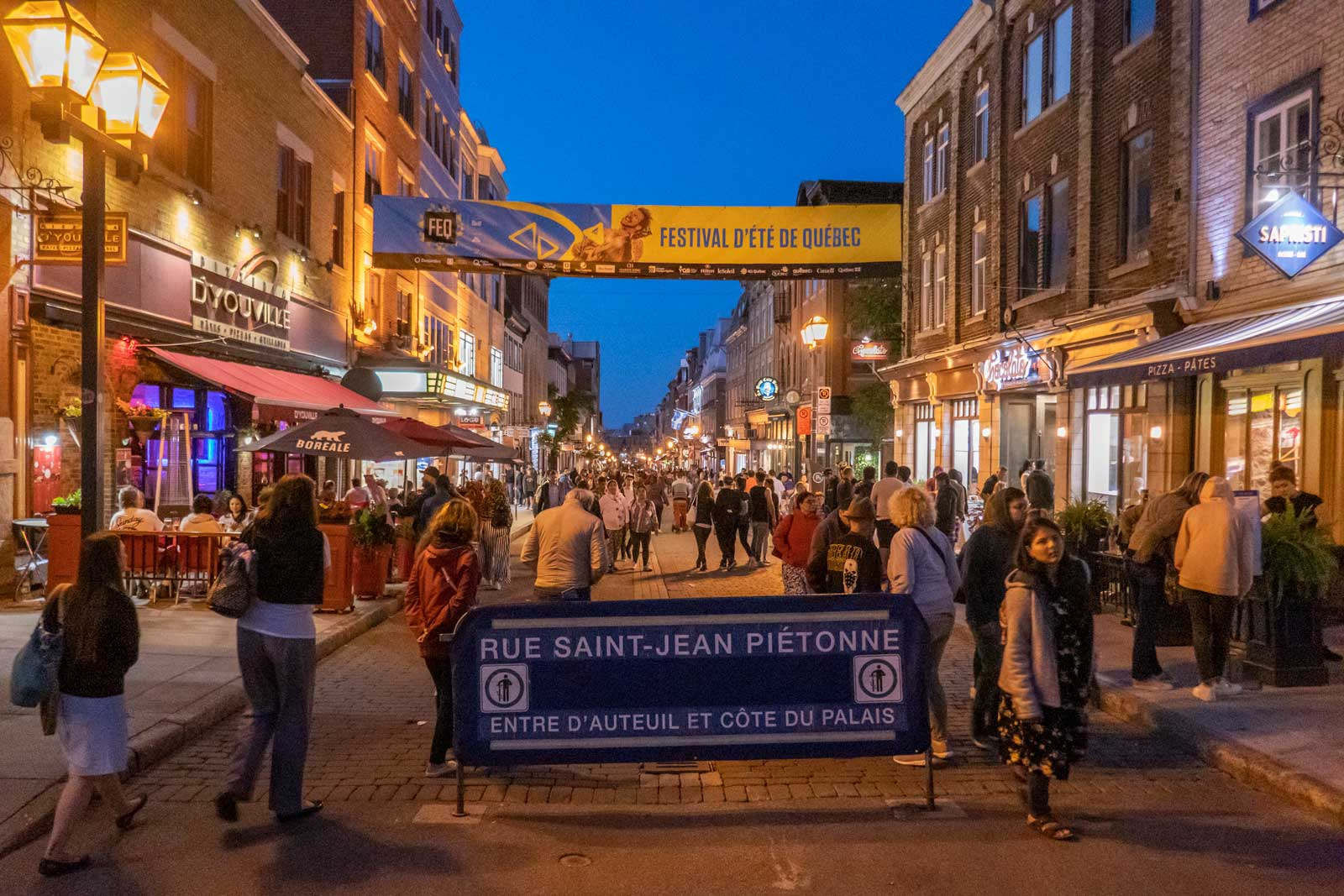 Rue Saint Jean Piettone Quebec City at night