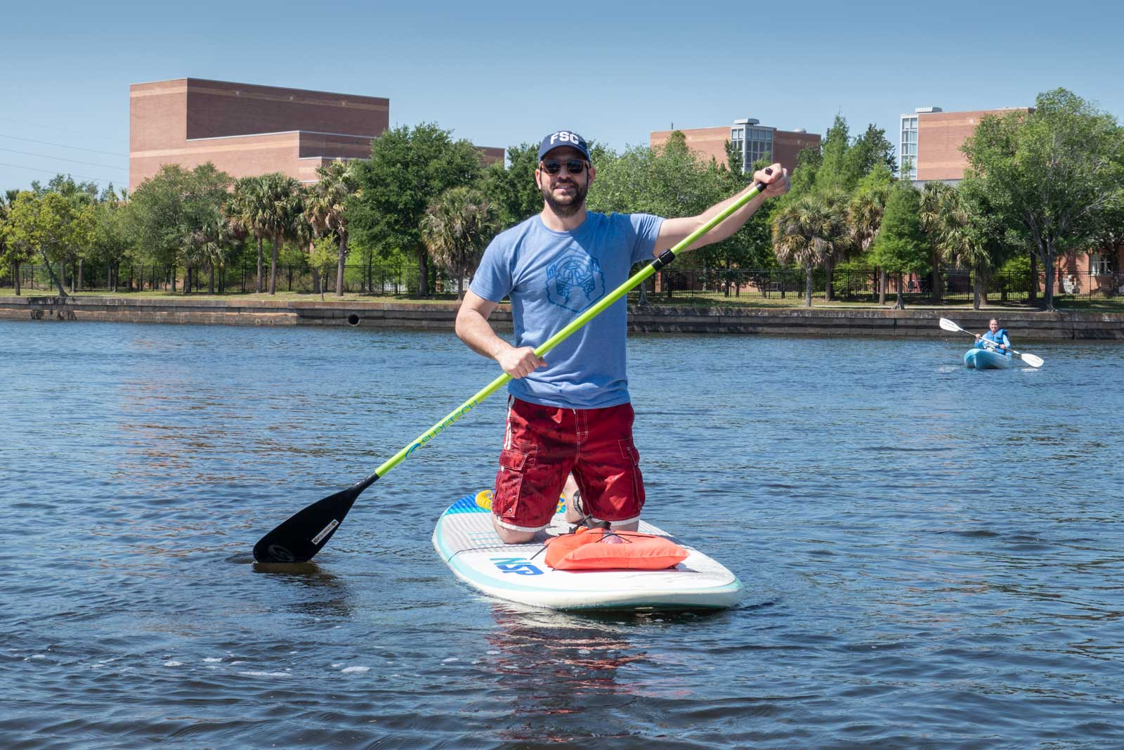 Brian on a paddleboard Downtown Tampa