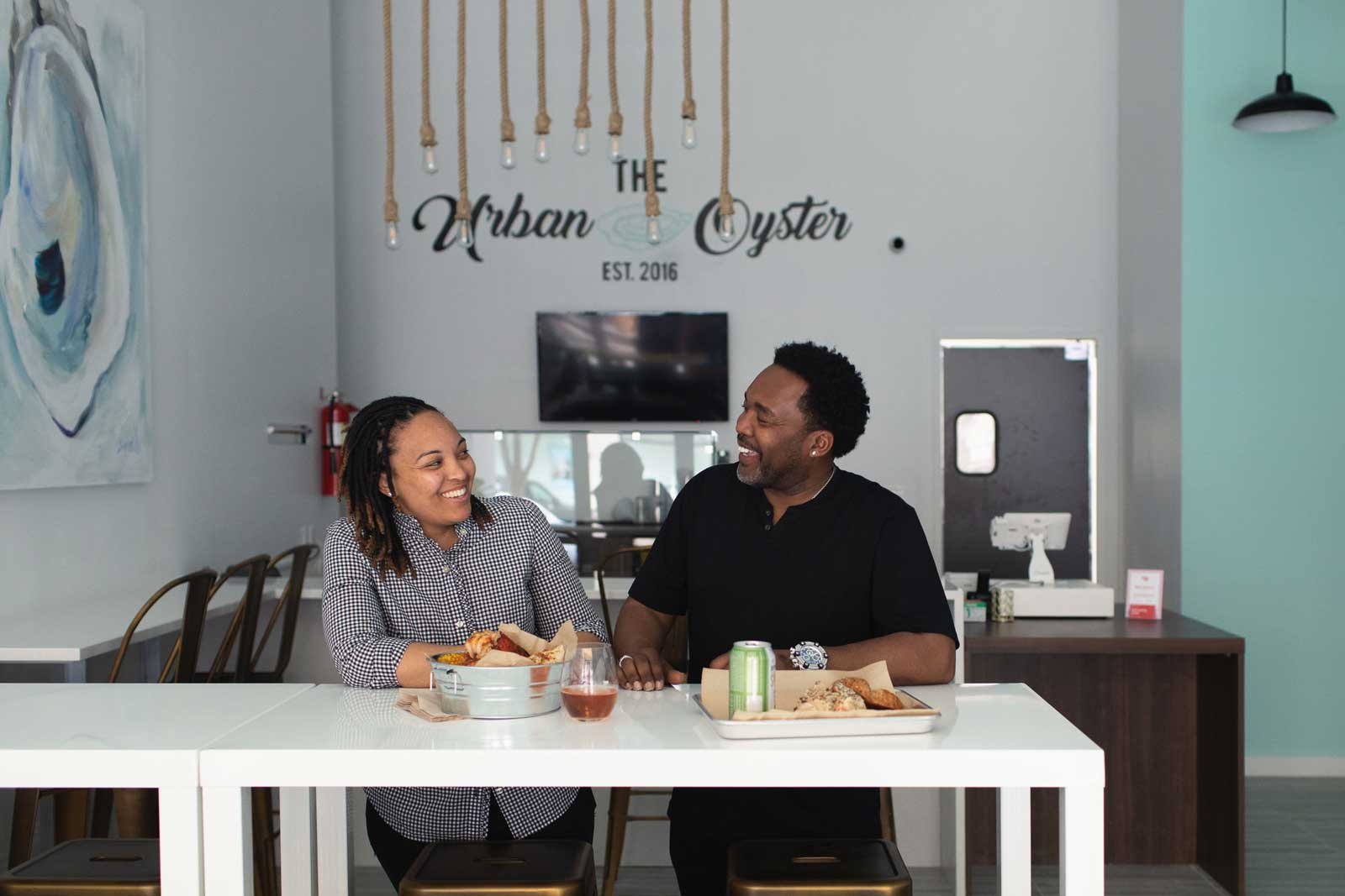 Jasmine Norton and her father at The Urban Oyster by Becky Stavely